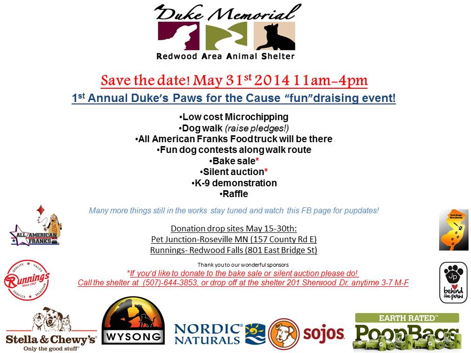 1st Annual Duke's Paws for the Cause fundraising event @ Redwood Falls Area Shelter | Redwood Falls | Minnesota | United States